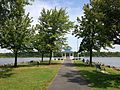 2013-08-26 11 59 44 View of the gazebo at the end of the peninsula in Mercer Lake at Mercer County Park.jpg