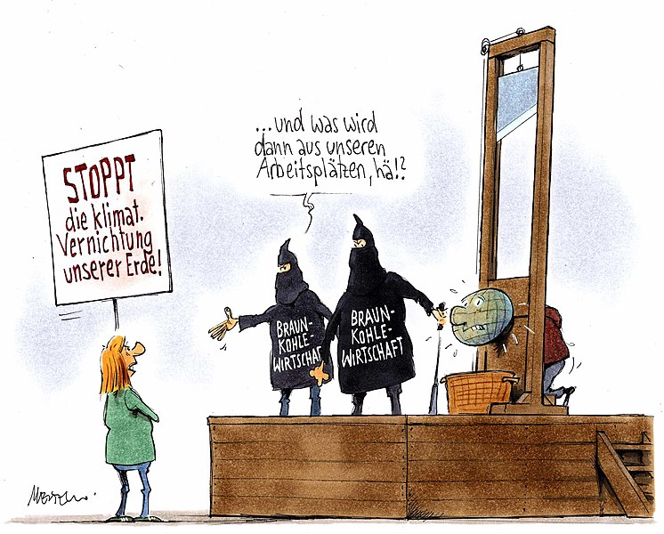 Datei:20150715 xl 145658-o13592-Karikatur--Gerhard-Mester--Klimawandel-und-Kohleverbrennung--Totschlagargument-Arbeitsplaetze.jpg