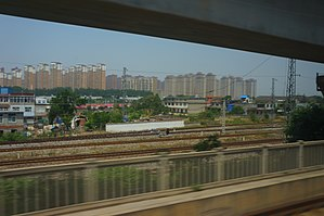 Changfeng County - View of Shuangdunji in Changfeng from HSR