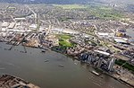 2018 LCY, aerial view of Greenwich Peninsula 1.jpg