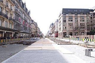 Boulevard Anspach Thoroughfare in Brussels, Belgium