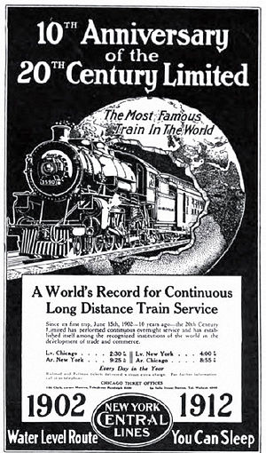 "20th Century Limited - ""The Most Famous Train In The World"" (1912 NYC ad)"