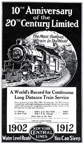 """20th Century Limited - """"The Most Famous Train In The World"""" (1912 NYC ad)"""