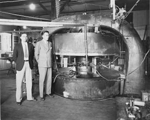 M. Stanley Livingston -  M. Stanley Livingston (L) and Ernest O. Lawrence next to a 27-inch cyclotron at the Radiation Laboratory in 1934.