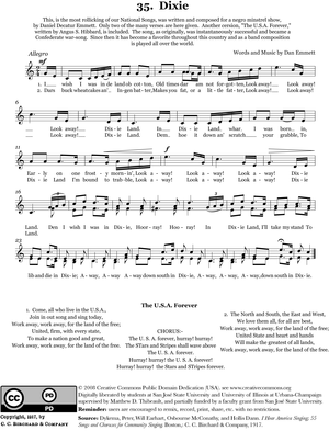 Dixie - Sheet music version