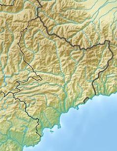 """Mapa konturowa Alp Nadmorskich, u góry po lewej znajduje się punkt z opisem """"źródło"""", natomiast w centrum znajduje się punkt z opisem """"ujście"""""""