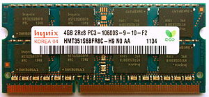 SO-DIMM - A 204-pin PC3-10600 DDR3 SO-DIMM