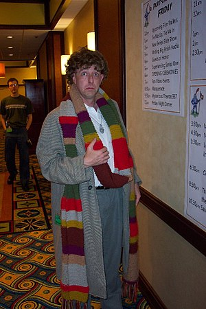 Doctor Who fandom - At Doctor Who conventions, some fans cosplay as their favourite Doctor Who characters. Here, a fan at the 2006 Gallifrey One convention cosplays as the Fourth Doctor.