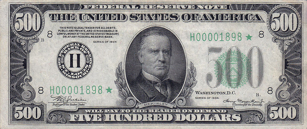 File:500 USD note; series of 1934; obverse.jpg - Wikimedia Commons