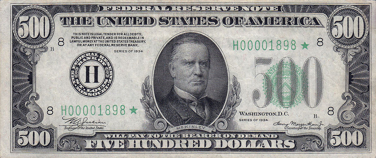 File 500 Usd Note Series Of 1934