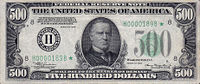 Obverse of rare 1934 $500 Federal Reserve Note, featuring a portrait of President William McKinley.