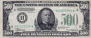 United States dollar - Image: 500 USD note; series of 1934; obverse