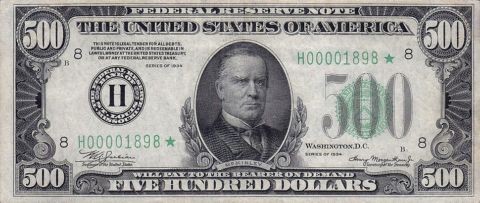 500 USD note; series of 1934; obverse