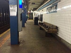 67th Avenue (IND Queens Boulevard Line) - The Manhattan bound platform at 67th Avenue