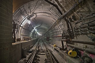7 (New York City Subway service) - A tunnel segment of the 7 Subway Extension during construction. It opened for service on September 13, 2015.