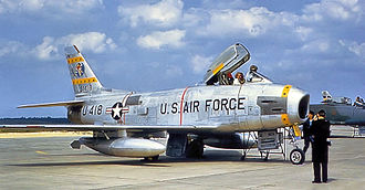50th Space Wing - 81st FBS F-86H 53-1418 upon arrival at Toul-Rosières Air Base, France, Summer 1956
