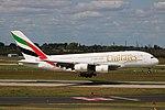 A6-EOA Airbus A380-800 Emirates DUS 2018-09-01 (13a) (43883704474).jpg