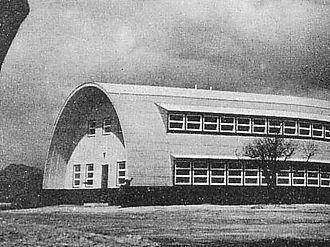 Atomic Bomb Casualty Commission - ABCC Building at a hilltop of Hijiyama, Hiroshima (circa 1954)