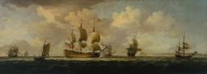 Charles Brooking - A Flagship Before the Wind, 14 x 40 inches (1754)