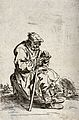 A bearded beggar sitting on a stone eats from a bowl while h Wellcome V0020326.jpg