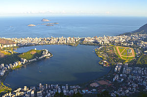 Rodrigo de Freitas Lagoon - View of the lagoon from Christ the Redeemer