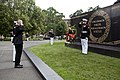 A ceremonial bugler, center, performs during a wreath laying ceremony at the Marine Corps War Memorial in Arlington, Va, June 13, 2013 130613-M-KS211-011.jpg