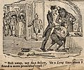 A devil overseeing a man having his back scrubbed; represent Wellcome V0010989.jpg