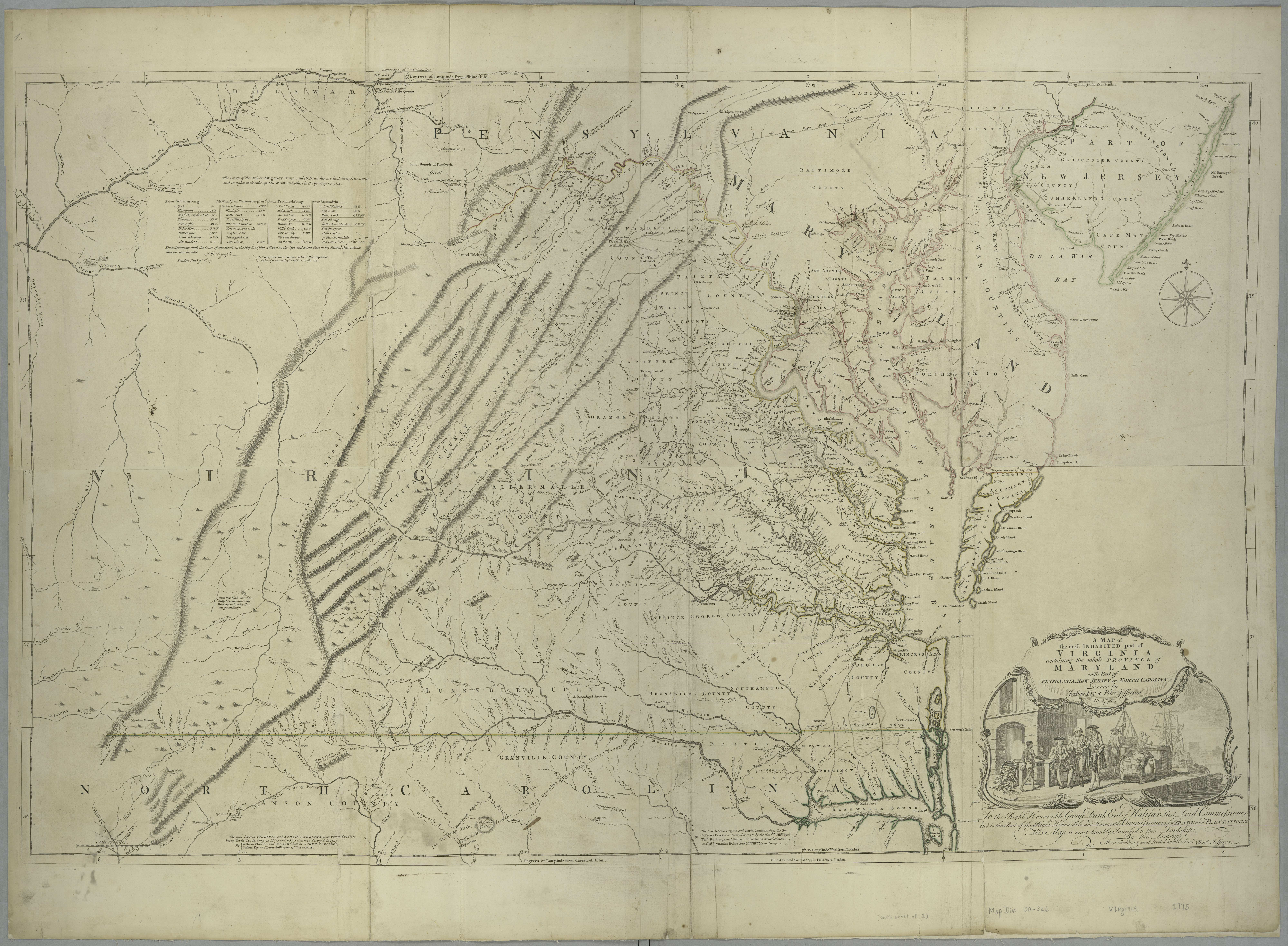 Westham is shown next to Richmond,  Virginia in 1775