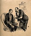 A patient consulting his friendly doctor. Pen drawing by J. Wellcome V0011267.jpg