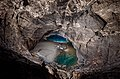 A view of Copacabana beach and Matt's sump at the bottom of Renejevo brezno (Renee's Abyss) at Mt. Kanin.jpg