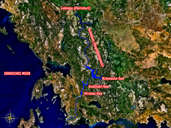 Acheloos River - Greece - marked course DE.png