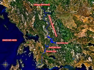 Achelous River - The Acheloos River marked on a satellite image. Labels in German.