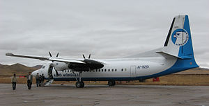 Aero Mongolia - Aero Mongolia Fokker 50, at Mörön Airport, 2006.