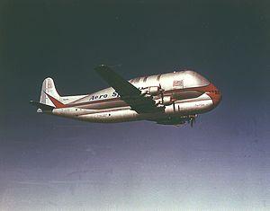 Aero Spacelines Pregnant Guppy in flight (MSFC-9801783).jpg