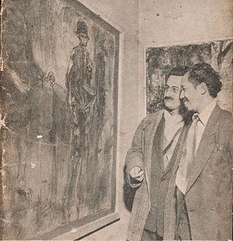 Affandi - Affandi (far right) at an exhibition in Paris, 1953