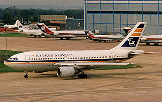 Cyprus Airways (1947–2015) - Cyprus Airways Airbus A310 departing Manchester Airport for Larnaca in 1991
