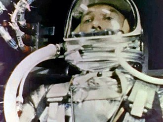 Mercury-Redstone 3 - Still frame of Alan Shepard taken by a motion picture camera aboard Freedom 7