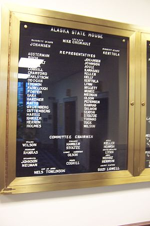 Alaska House of Representatives - House of Representatives member directory in the hallway of the Capitol building.  Taken in 2009, this shows the House membership during the 26th Legislature.