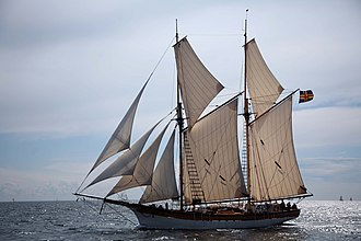 """Headsail - The galeas Albanus with four staysails as headsails, or jibs: (left to right) flying jib, outer and inner jib and """"the"""" staysail"""