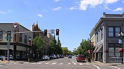 Looking west down 1st Avenue SW in Downtown Albany, Oregon