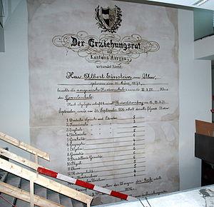 Albert Einstein Archives - Einstein's matriculation grades in 1896