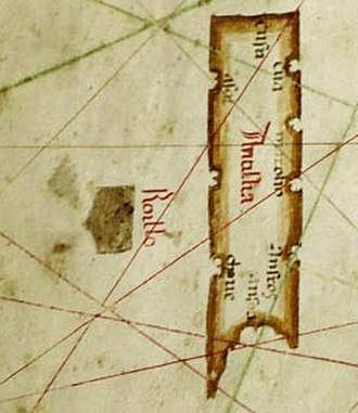 Antillia - Map of Albino de Canepa, 1489. Phantom island of Antillia, with its Seven Cities, is on the right; the smaller companion island of Roillo is on the left.