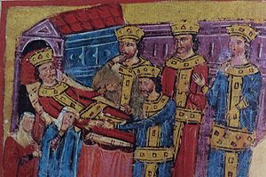 Perdiccas - Deathbed of Alexander, illustration in Codex 51 (Alexander Romance) of the Hellenic Institute. The figure in the center is Perdiccas, receiving the ring from the speechless Alexander.