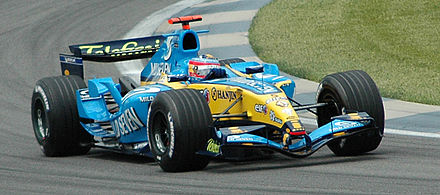 Fernando Alonso driving for Renault F1 at Indianapolis in 2005, the year in which the Renault team won the first of their two Formula One championships Alonso (Renault) qualifying at USGP 2005.jpg