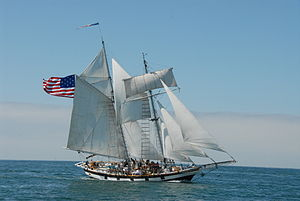 Fisherman's staysail - Fisherman set in-between the masts on the topsail schooner, Amazing Grace (ship)