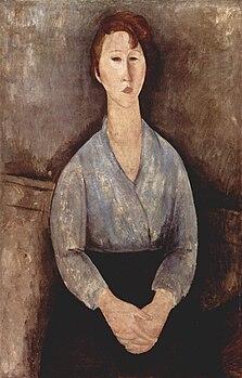 Con Wikipedia Una Blu Donna Seduta Camicetta QrBWEdCoxe