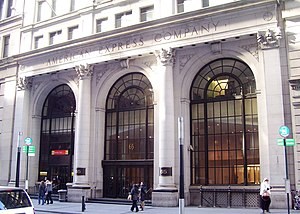 65 Broadway - The entrance to the American Express Company Building at 65 Broadway in 2012.