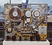 Internals of a 3-head Ampex audio tape recorder circa 1965.