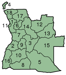 Angola-Administrative divisions-Angola Provinces numbered 300px