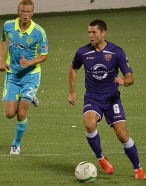 Anthony Pulis - Pulis playing against Seattle reserves in USL Pro for Orlando City SC